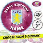 Aston Villa Cake Topper, Round Circle, Edible Icing Sheet, Personalised