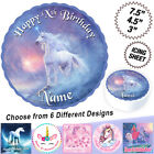 Unicorn themed Personalised Square Edible Icing Cake Topper in 3 Sizes
