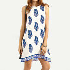 ZANZEA Damen Boho Floral Ärmellos Sommer Casual Party Strand Mini Kleid Dress