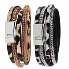 Fashion Rhinestone Leather Wrap Bracelet Crystal Multilayer Leopard Bracelace
