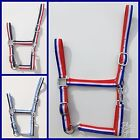 TRICOLOR NYLON WEB HORSE HALTER HEAD COLLAR MINI SHETLAND PONY COB FULL XF DRAFT