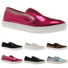 WOMENS ELASTICATED LADIES SLIP ON TRAINERS FLAT PLIMSOLLS PUMPS SHOES SIZE 3-8