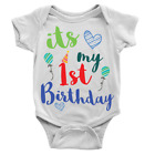 It's My 1st Birthday Babygrow Cool Sweet First Celebration Balloons Gift Present