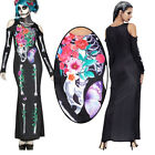 Floral Sugar Skull Skeleton Maxi Long Dress Bone Costume Cosplay Stretchy M-XL