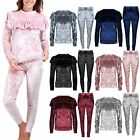 Womens Ladies Crushed Velvet Frill Jogging Bottom Top Loungewear Tracksuit Set