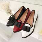 Lady low block heel Womens pointed toe bow Slip On Court PU Leather Shoes US Sz
