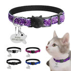 Bling Sequins Breakaway Cat Collars&Dog Tags Engraved Free Quick Release Buckle