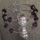 Christmas Holiday Silver Plated Ball Ornament Crystals Pearls Wine Glass Charms