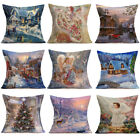 Merry Christmas Linen Pillow Cases Sofa Cushion Cover Home Room Decoration Sale