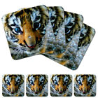 CUTE TIGER CUB 02 - DRINKS COASTER SET - PLACEMATS TEA COFFEE