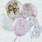 """5 Pcs CONFETTI FILLED BALLOONS 12"""" Large Helium Quality Party Wedding Decoration"""