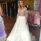 Champagne Wedding Dresses Bridal Ball Gowns Long Sleeve V Neck Top Lace Backless