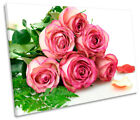 Pink Rose Flowers Bouquet Print CANVAS WALL ART Picture Framed