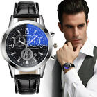 Luxury Fashion Faux Leather Mens Blue Ray Glass Quartz Analog Date Wrist Watches