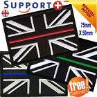 THIN BLUE LINE PATCH UNION JACK VELCRO® HOOK AND LOOP EMERGENCY SERVICES UK
