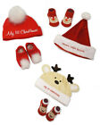 New Babies Romany Style My First Christmas Pom Pom Hat & Booties/Socks Gift Set