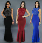 US STOCK Sexy Women's Long Fitted Beading Sleeveless Mermaid Evening Gown Dress