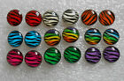 Animal zebra prints studs earrings round in 9 beautiful colours with stoppers
