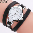 Women's Stainless Steel Leather Watch Girl Bracelet Casual Analog Wrist Watches