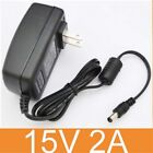 AC 15V 2A Switching Power Adapter US/EU/AU Plug Charger Supply DC 5.5mm 30W