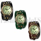 Mens Women's Retro Braided Leather Bracelet Band Digital Dial Quartz Wrist Watch image