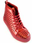 Fiesso Mens Red PU Leather Studded Lace Up High Top Fashion Spike Sneaker Shoe