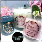Candle, bottle, chutney  gift stickers foil label Transparent Personalised  x 24