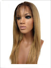"""Blend Human Hair 6# and 8# Full Lace Front Wigs Natural Straight 18"""" Lace Wigs"""