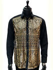 Prestige Men Gold Black Mosaic Cut Out Style Button Up Trendy Party Dress Shirt