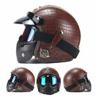 Harley Handmade Leather Helmet Motorcycle 3/4 w/ Face Mask Vintage Classical DOT