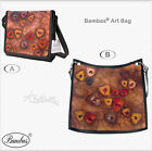 Bambas Art Designer Hand Painted Engraved Leather Handbag Crossbody or Tote