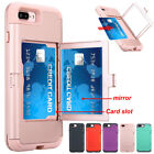 Hybrid Rubber Shockproof Mirror Card Slot Holder Case Cover For iPhone 7 7 Plus