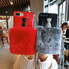 For iPhone X 7 8 Plus Bling Diamond Cat Soft Fuzzy Rabbit Fur Case Cover & Strap