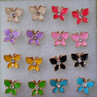 Lovely little studs earrings gold plated butterflies in 8 colours +stoppers
