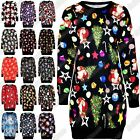 New Ladies Xmas Snowman Santa Fleece Knitwear Christmas Long Jumper Shift Dress