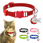 Personalised Cat Collars&ID Tag&Bell Breakaway Safety for Small Puppy Kitten XS
