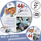 Lewis Hamilton Personalised Circle Edible Icing Cake Topper in 3 Sizes