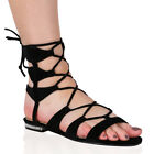 Womens Gladiator Flat Lace Up Open Toe Sandals in Black Faux Suede 3-8