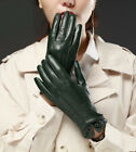 women winter warm elegant  button real Italy leather gloves green beige black