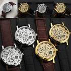 Men Luxury Transparent Mechanical Skeleton Wrist Watch Stainless Steel Leather image