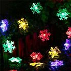 30 LED Snow Flake Flowers Solar String Lights Waterproof Outdoor Decorated