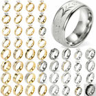 Guy Men Gold/Silver Plated Stainless Steel Zircon Punk Finger Ring Jewelry