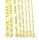 "GENUINE 10K Real Yellow Gold 2MM-9MM Figaro Link Chain Pendant Necklace 16""- 30"""