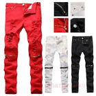 New Men Boy Knee Zipper Distressed Ripped Jeans Biker Skinny Slim Denim Trousers