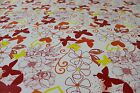 Red, Orange & Yellow Butterflies PVC Easy Wipe Clean Tablecloth 140cm Wide