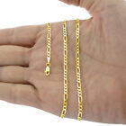 """10K Real Yellow Gold 2mm-9mm Figaro Chain Link Pendant Necklace Bracelet 7""""- 30"""""""