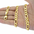10K Real Yellow Gold 2mm-9mm Figaro Chain Link Pendant Necklace Bracelet 7