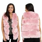 Womens Faux Leather & Fur Sleeveless Vest Waistcoat Wrap Shrug Coat Jacket
