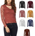 Solid Choker V-Neck Long Sleeve Allover Lace Scallop Hem Top  S ~ L