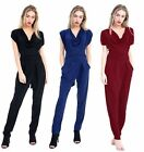 NEW LADIES UK 8-14  STYLISH SLEEVELESS COWL NECK PARTY TIE BACK JUMPSUIT OUTFIT